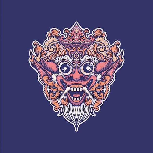 Diseño de ilustración tradicional de arte de máscara de barong