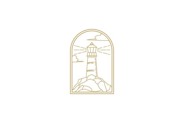 Diseño de ilustración de vector de arte de línea de logotipo de faro, logotipo de faro minimalista