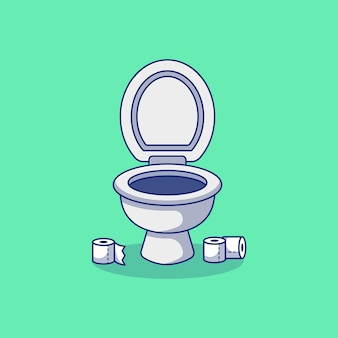 Diseño de ilustración de vector de asiento de inodoro con papel higiénico