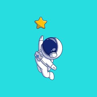 Diseño de ilustración de vector de astronauta agarrando estrellas