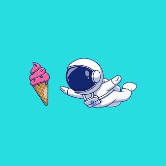 Diseño de ilustración de vector de astronauta agarrando helado