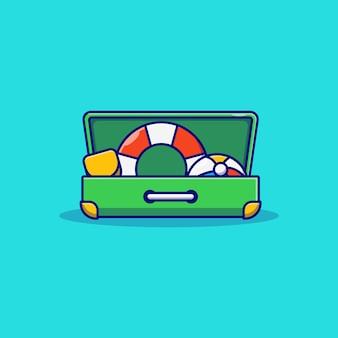 Diseño de ilustración de vector de boya pala de pelota de playa en maleta