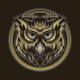 Diseño de ilustración de vector de búho aislado en la oscuridad