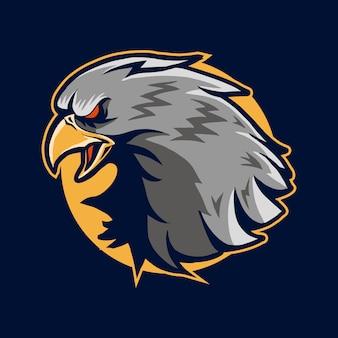 Diseño de ilustración de vector de cabeza de águila sobre el círculo