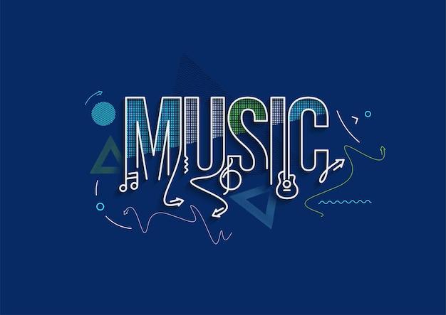 Diseño de ilustración de vector de cartel de compras de texto de arte de línea caligráfica de música