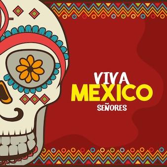 Diseño de ilustración de vector de celebración de cartel de viva mexico