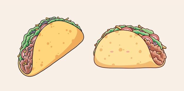 Diseño de ilustración de vector de comida de taco