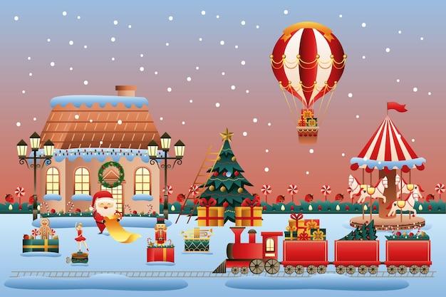 Diseño de ilustración de vector de escena de tierra de juguetes de navidad