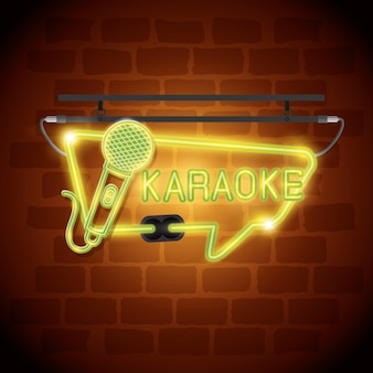 Diseño de ilustración de vector de etiqueta de neón de barra de karaoke