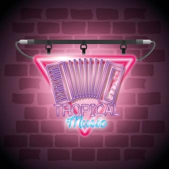 Diseño de ilustración de vector de etiqueta de neón de barra de música tropical