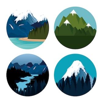 Diseño de ilustración de vector de icono de escena de paisaje canadiense
