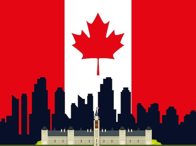 Diseño de ilustración de vector de icono de escena de paisaje urbano canadiense
