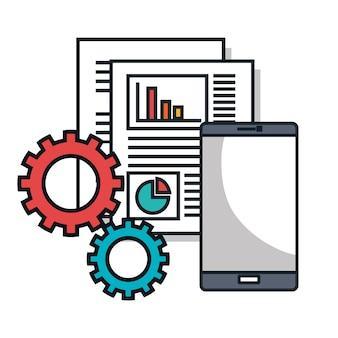 Diseño de ilustración de vector de iconos de línea plana de centro de datos