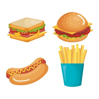 Diseño de ilustración de vector de iconos de productos de comida rápida