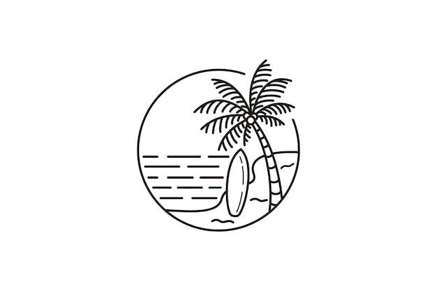 Diseño de ilustración de vector de logo de línea de verano, diseño de logo de playa con cocoteros y tabla de surf