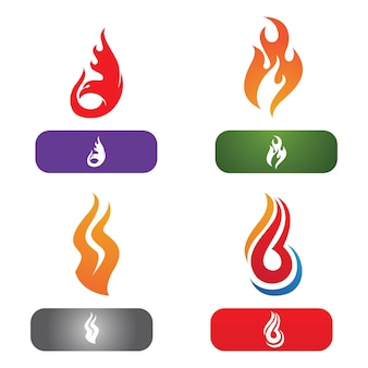 Diseño de ilustración de vector de logo de llama de fuego