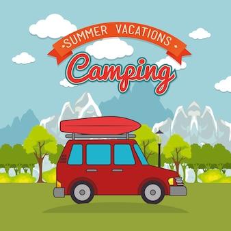 Diseño de ilustración de vector de paisaje de camping día de viaje