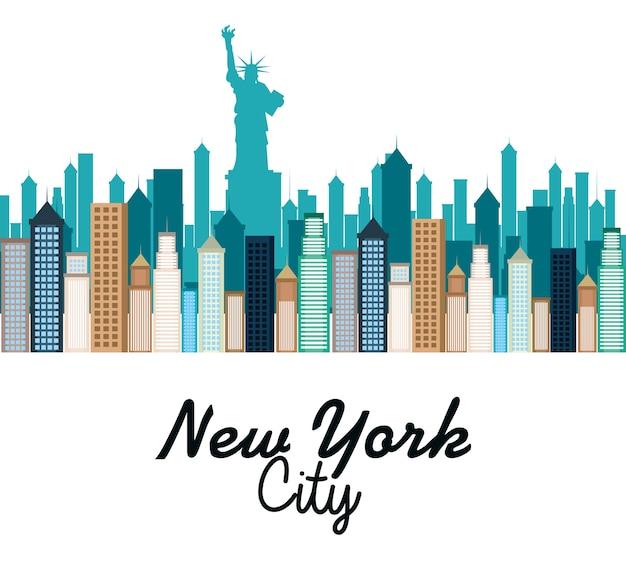 Diseño de ilustración de vector de paisaje urbano de ciudad de nueva york