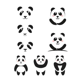 Diseño de ilustración de vector de plantilla de icono de panda