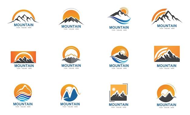 Diseño de ilustración de vector de plantilla de logotipo de icono de montaña