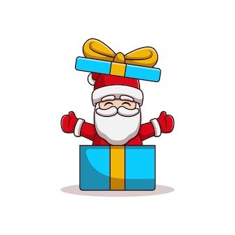 Diseño de ilustración de vector de santa claus de una caja de regalo