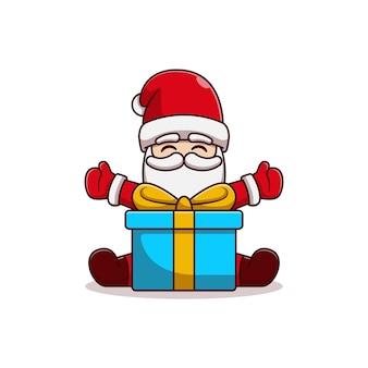 Diseño de ilustración de vector de santa claus sentado sosteniendo regalos de navidad
