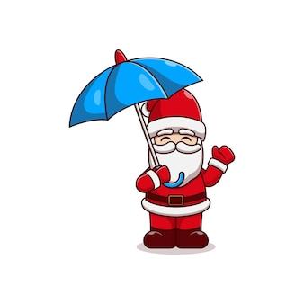 Diseño de ilustración de vector de santa claus sosteniendo paraguas