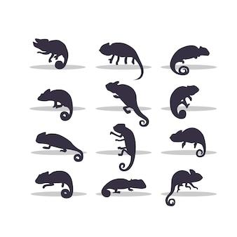 Diseño de ilustración de vector de silueta de camaleón