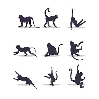 Diseño de ilustración de vector de silueta de mono