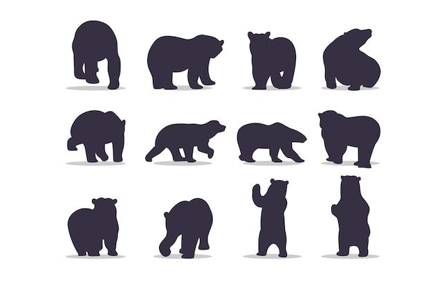 Diseño de ilustración de vector de silueta de oso