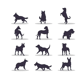 Diseño de ilustración de vector de silueta de perro