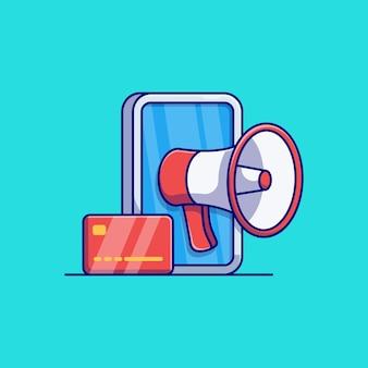 Diseño de ilustración de vector de smartphone con megáfono y tarjeta de crédito