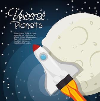 Diseño de ilustración de vector de universo espacio concepto de planetas