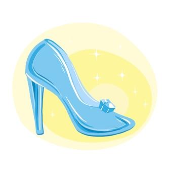 Diseño de ilustración de zapato de cristal de cenicienta