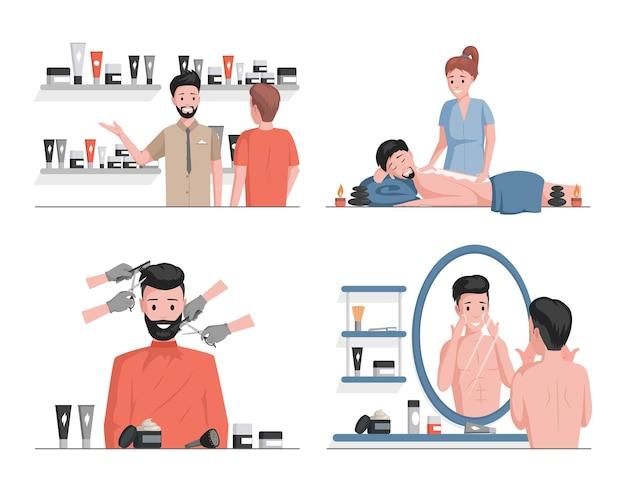 Diseño de ilustraciones planas de spa de hombres