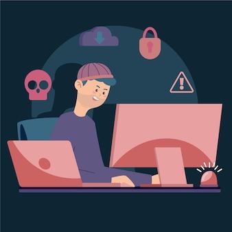 Diseño ilustrado de la actividad hacker