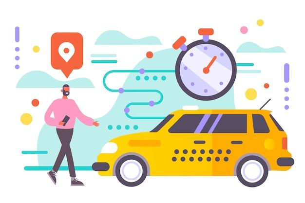 Diseño ilustrado de la aplicación de taxi