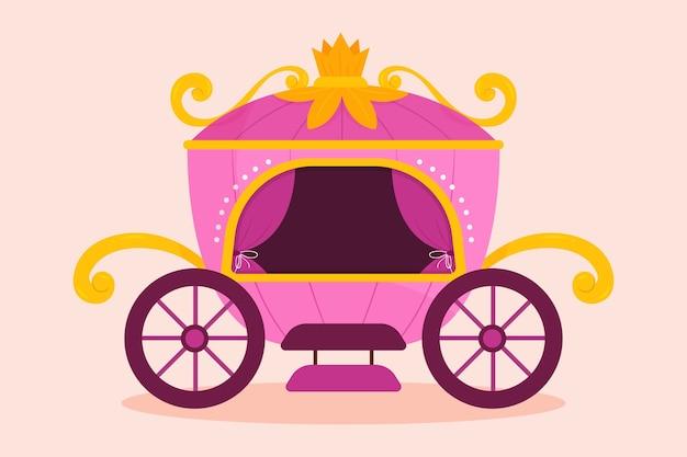 Diseño ilustrado de carro de cuento de hadas