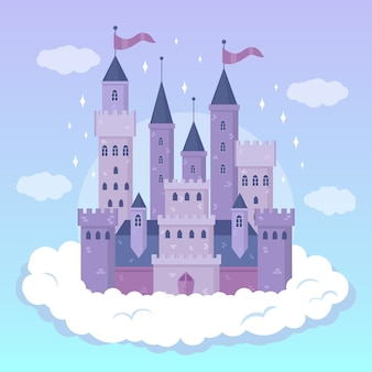 Diseño ilustrado del castillo de cuento de hadas