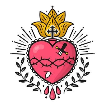 Diseño ilustrado del corazón sagrado