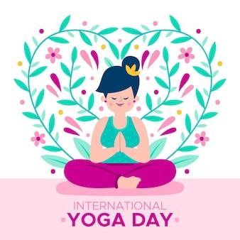 Diseño ilustrado del día internacional del yoga
