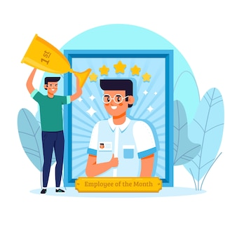 Diseño ilustrado del empleado del mes