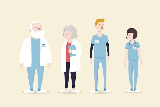 Diseño ilustrado del equipo de profesionales de la salud