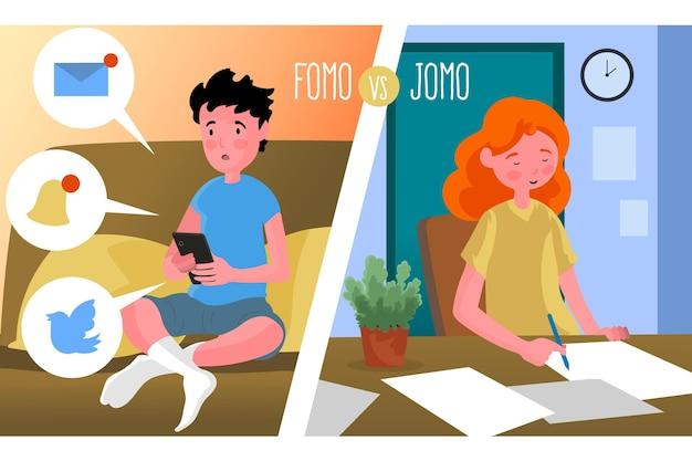 Diseño ilustrado de fomo vs jomo
