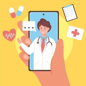 Diseño ilustrado en línea del doctor