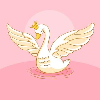 Diseño ilustrado princesa cisne