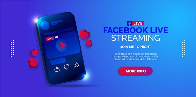 Diseño ilustrado de transmisión en vivo de facebook en su cuenta