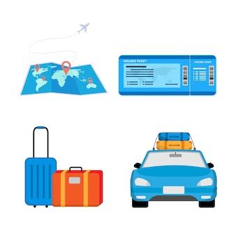 Diseño ilustrativo de preparación de viaje.