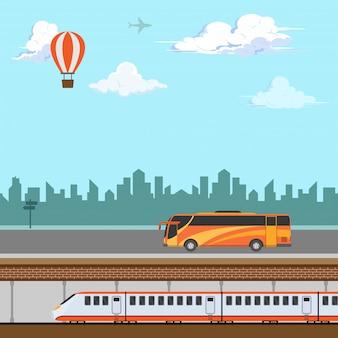 Diseño ilustrativo de transporte público para viajar.