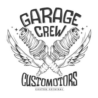Diseño de impresión de bujía de garaje de club de motocicletas vintage.